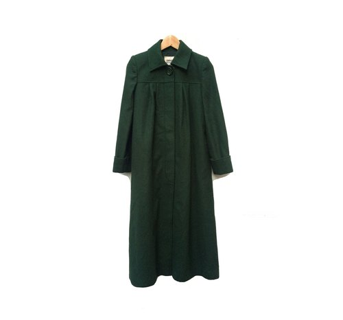 Ancient Cave firm │ dark green square collar x x x slender big round buckle vintage wool coat styles │