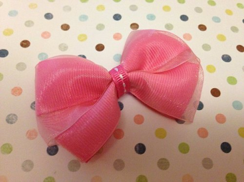 [082803] chiffon bow (deep pink) hairpin / hair bundle