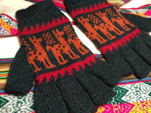 Walking alpaca wool half-finger gloves - Navy Orange