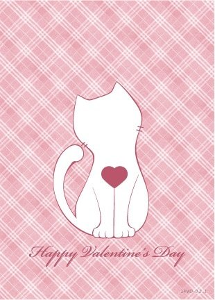 :: Cat Princess :: ~ Plaid kitten postcard Kuka (pink) Valentine's Card
