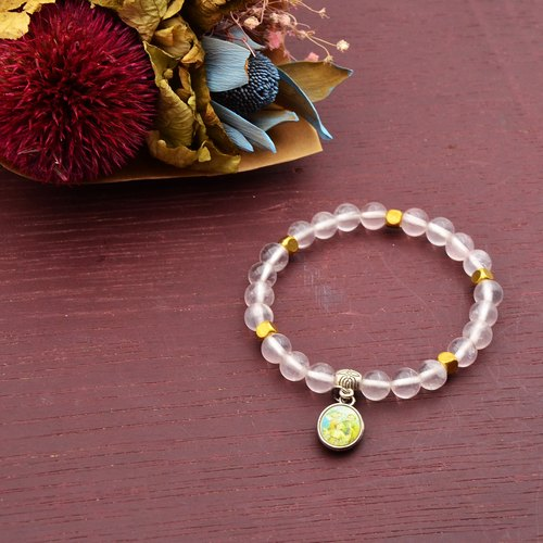 Pink crystal | brass natural stone bracelet