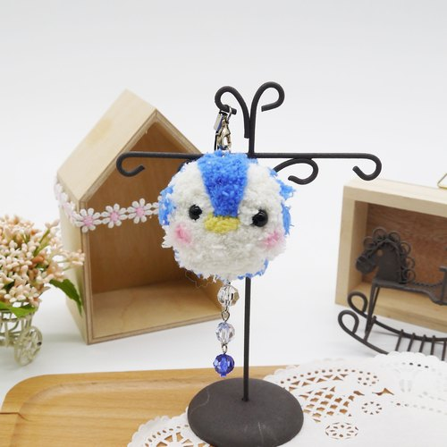 Knitting soft phone strap can be changed key ring pendant - Penguin