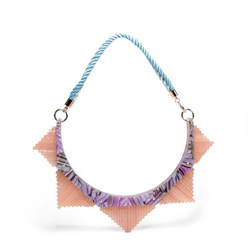 Pink purple star anise language Necklace