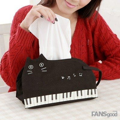 Noafamily, Noah notes Cat face tray (horizontal) _BK p (H610-BK)