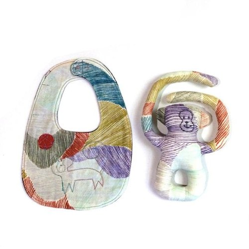 baby gift droll small monkey style & Niginigi rattle set