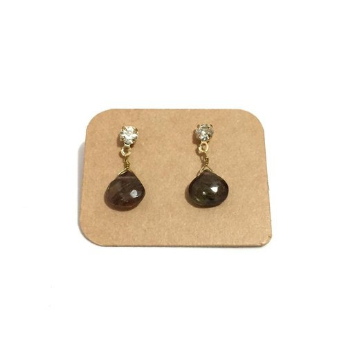 Simple Black Rutile Quartz Earrings