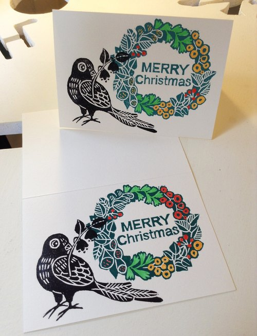 Hand printed version of Christmas - Christmas wreath and birds