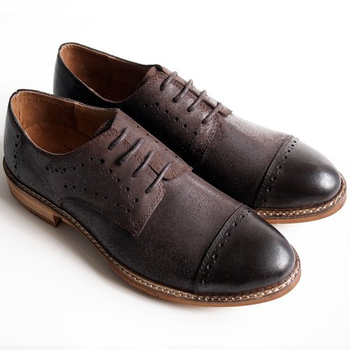 [LMdH] D1A22-89 hand-rubbed oil color wax calf carved wood with open Phut Derby Shoes - brown - Free Shipping