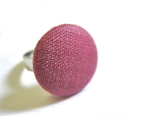 Hand-made cloth buttons purple ring
