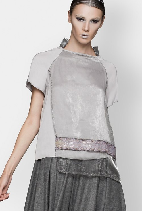 Blouse with Organza Overlapping