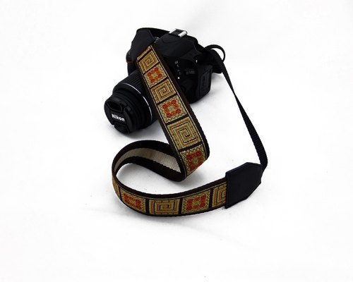 Camera strap can print personalized custom leather stitching national wind embroidery pattern 009