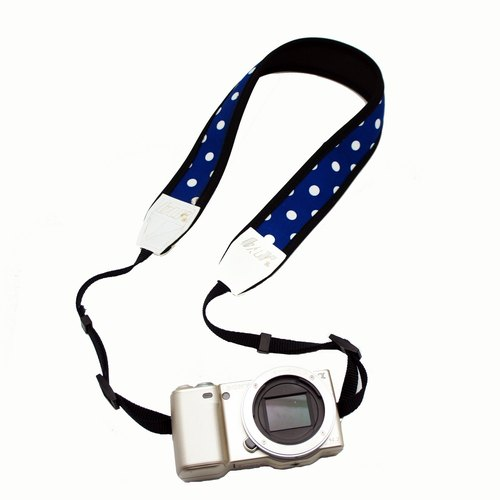 BLR Handmade Reduce stress Camera strap [ White Dot Blue ]