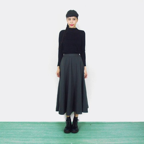 Gray-green wool skirt waist vintage AI2001