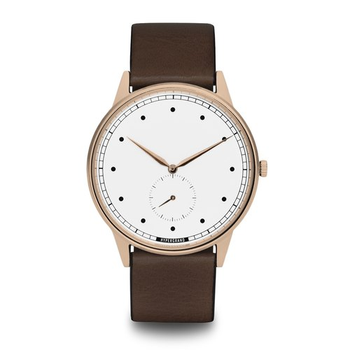 HYPERGRAND - Small second hand series - rose gold and white dial brown leather watch