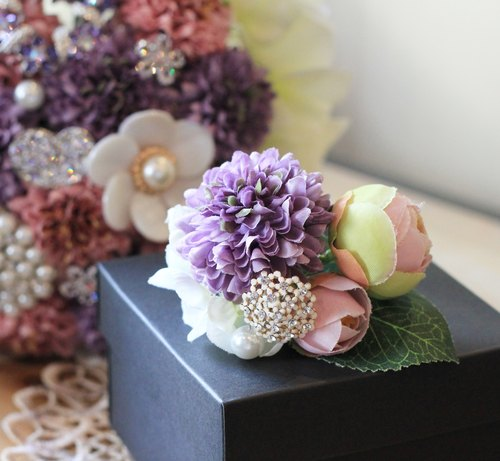 [Classic lace bouquet jewelry ball daisy corsage and bouquet Shipping] combination (purple)