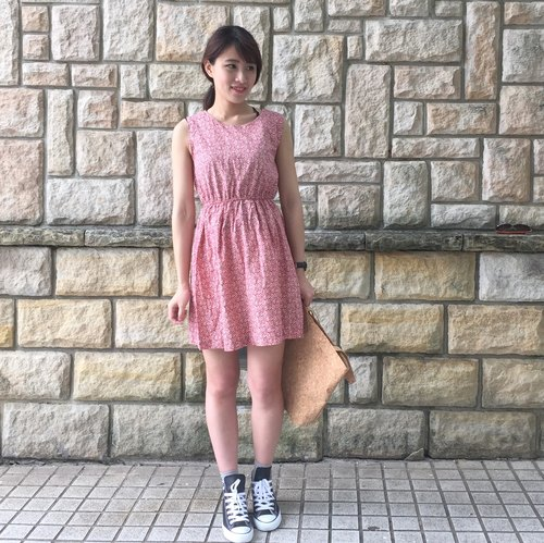 [Vintage dress] _ peony red / printing / cotton