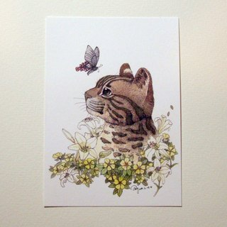 Be Friendly Be Friend - Protect Stone Tiger Illustration Cool Card / Card - (Leaf) Lily