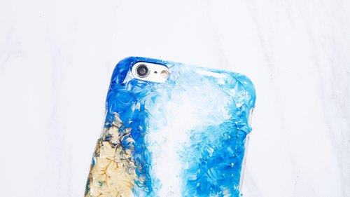 Blue oil painting wind ll hand-painted oil painting wind mobile phone shell