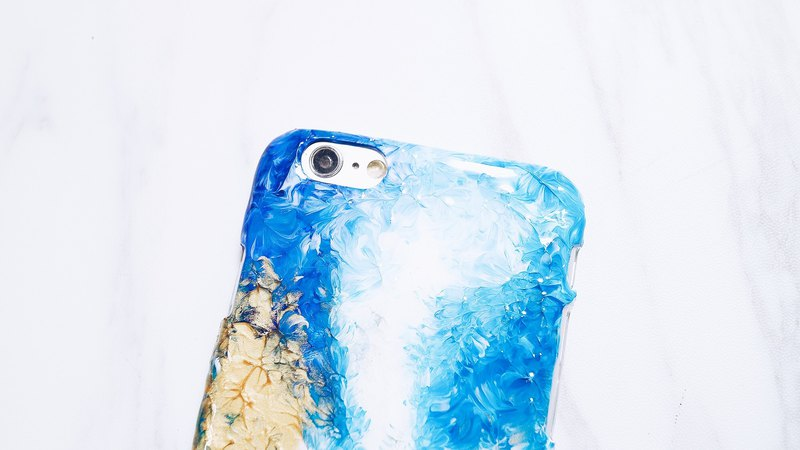 Blue oil painting wind ll hand-painted oil painting wind phone shell