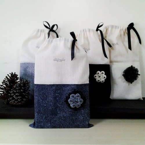 MFP small bouquet of dark gray handmade blankets + cotton multipurpose pouch packaging