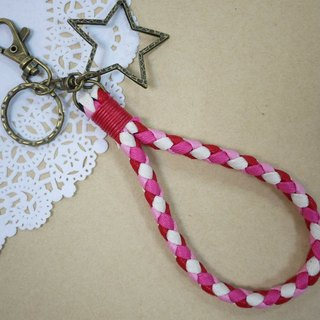 ~ M + Bear ~ vintage braided wire braided wax keychain key ring (four shares edge: pink)