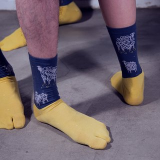 Mad Sheep Series - Socks - blue and yellow
