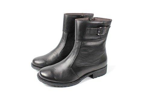 黑 金屬側扣短靴