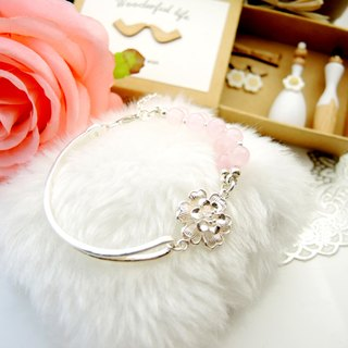 """Bride Floral Marriage"" magnificent peonies romantic ladies powder crystal 925 sterling silver bracelet"