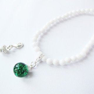 * Rosy Garden * emerald green sequined flow glass ball with white snowflake bracelet Mashan Yu