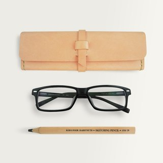 Three-dimensional Square Pencil Case/Spectacle Case -- Original Leather Color