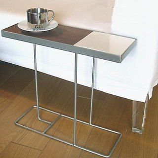 Companion side table - silver frame + white porcelain / black porcelain