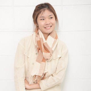 Big Plaid Scarves Hand Woven and Botanical Dyed Cotton Tan Color