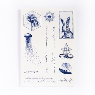 LAZY DUO { SET 03 } Hand-drawn Style Temporary Tattoo Stickers