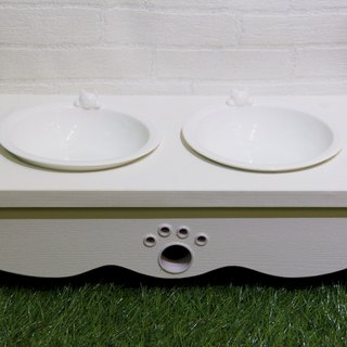 CatS Cat Table (white embossed, double bowl)
