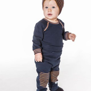 Nordic infant organic cotton trousers striped dark blue