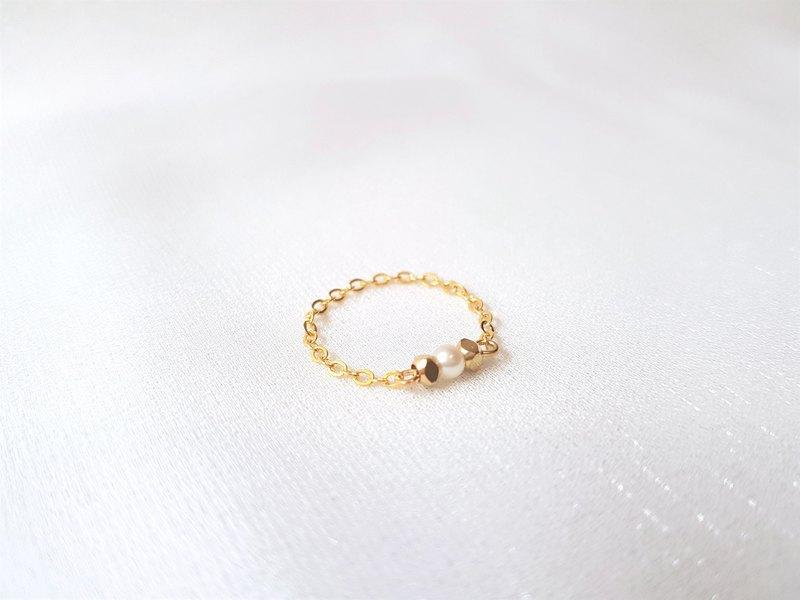 菱角 方塊 珍珠 黃銅 黃銅包14K金 鍊戒