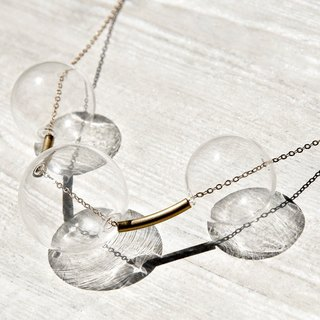 / Simple sense / French mouth-blown transparent glass ball necklace - Universe Planet