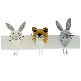 [Fiona Walker England] British style fairy tale animal head handmade Mural - Alice in Wonderland series Hook (Triple Head Hook, Rabbit, Cat, Hare)