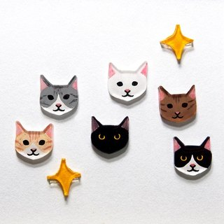 Kittens! (One pair) hand-painted hand-made ear needles - non-allergic steel needles / can be changed clip type - rotary adjustable elastic