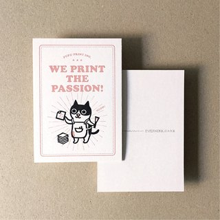 Typography. Printed cat master postcard