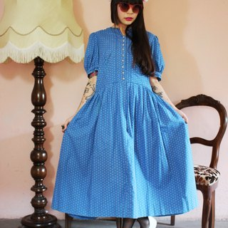 F1104 [Austrian traditional costumes] (Vintage) blue texture vintage small floral cotton dress (wedding / picnic / party)