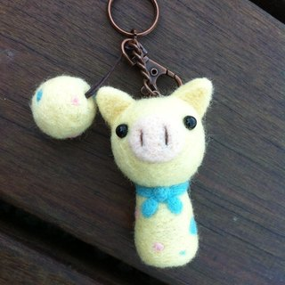 Wool felt light yellow pig keychain