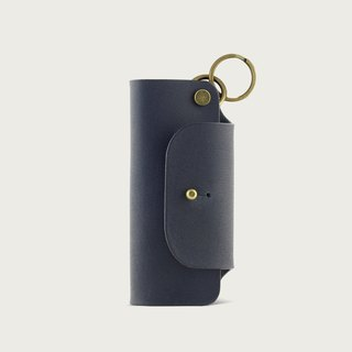 Leather Key Case/Key Ring - Deep Blue