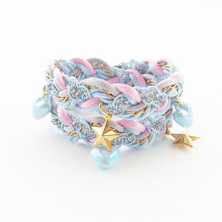Pastel kawaii - sugar jewelry - baby blue accessories - pastel bracelet - sweet lolita - double wrap bracelet