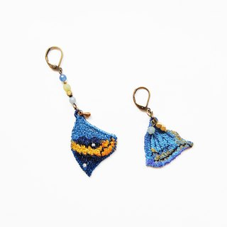 Embroidery Wings Earring / Dead Leaf Butterfly ( Kallima Inachus )