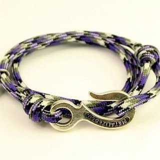 [METALIZE]Hook with rope bracelet Three-circle umbrella rope bracelet-Industrial hook-violet camouflage (Ancient silver)