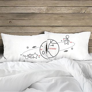 """Satellite' Boy Meets Girl couple pillowcase by Humantouch"