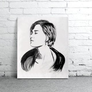 custom portraits - Chinese ink painting - BEING YOURSELF- rose liked you-Easy Gallery Wrap
