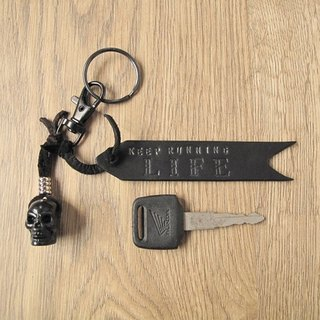 Black Leather Brand Name Keychain Leather Brand Name Customized Free Lettering Rock Ride Personality Style