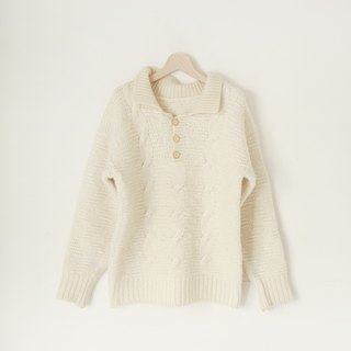 A ROOM MODEL - VINTAGE, CS-1373 vintage beige sweater with a collared Shimokitazawa